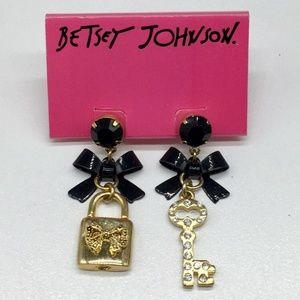 BETSEY JOHNSON Bow Skeleton Key Padlock Earrings